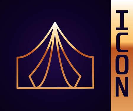 Gold line Tourist tent icon isolated on black background. Camping symbol. Vector Ilustração