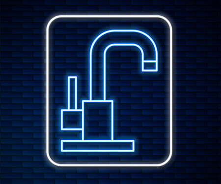 Glowing neon line Water tap icon isolated on brick wall background. Vector