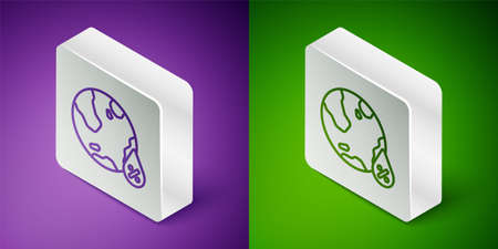 Isometric line Water drop percentage icon isolated on purple and green background. Humidity analysis. Silver square button. Vector
