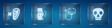 Set Deaf, Abdominal bloating, Stethoscope and Skull. Square glass panels. Vector