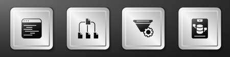 Set Software, Folder tree, Filter setting and Server, Data, Web Hosting icon. Silver square button. Vector