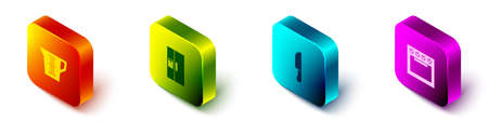 Set Isometric Measuring cup, Refrigerator, Knife and Oven icon. Vector