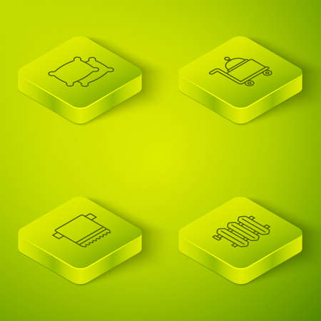 Set Isometric line Covered with tray, Towel on hanger, Heating radiator and Pillow icon. Vector