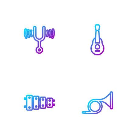 Set line Trumpet, Xylophone, Musical tuning fork and Guitar. Gradient color icons. Vector Vektoros illusztráció