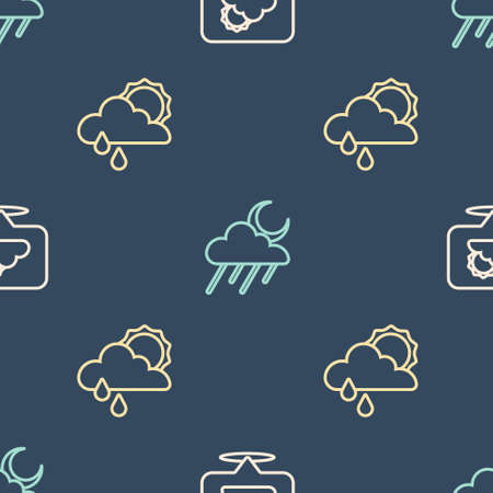 Set line Location cloud, Cloud with rain and sun and moon on seamless pattern. Vector