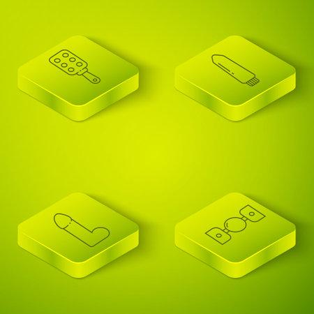 Set Isometric Dildo vibrator, Dildo vibrator, Silicone ball gag with belt and Spanking paddle icon. Vector