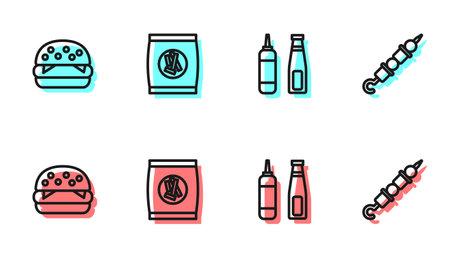 Set line Sauce bottle, Burger, Hard bread chucks crackers and Grilled shish kebab icon. Vector