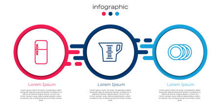 Set line Refrigerator, Measuring cup and Plate. Business infographic template. Vector