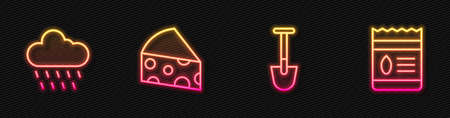 Set line Shovel, Cloud with rain, Cheese and Pack full of seeds of plant. Glowing neon icon. Vector