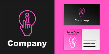 Pink line Information icon isolated on black background.   design template element. Vector Illustration