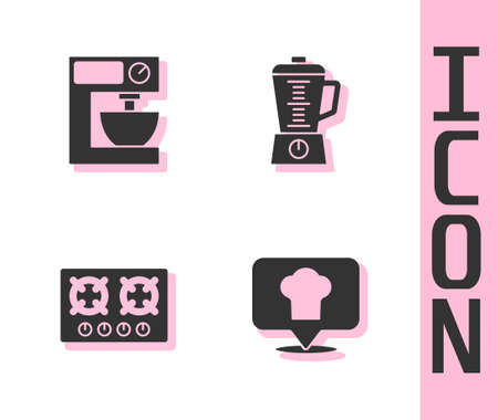 Set Chef hat with location, Electric mixer, Gas stove and Blender icon. Vector Vecteurs
