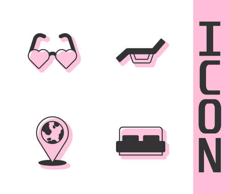 Set Hotel room bed, Heart shaped love glasses, Location on the globe and Sunbed and umbrella icon. Vector