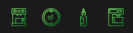 Set line Bottle of olive oil, Coffee machine, Cutting board and Electric mixer. Gradient color icons. Vector Vecteurs