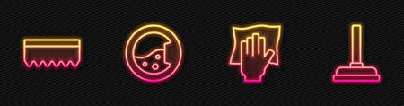 Set line Cleaning service, Sponge, Washer and Rubber plunger. Glowing neon icon. Vector