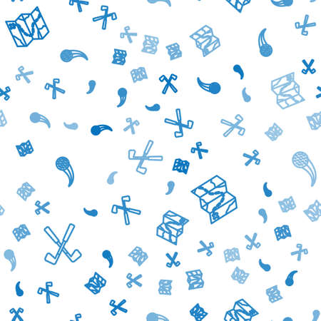 Set line Crossed golf club, Golf course layout and ball on seamless pattern. Vector