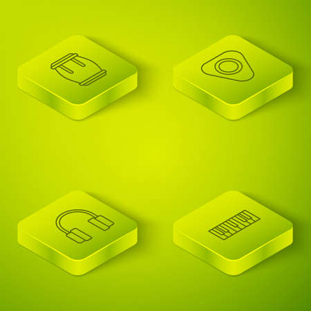 Set Isometric line Guitar pick, Headphones, Music synthesizer and Drum icon. Vector
