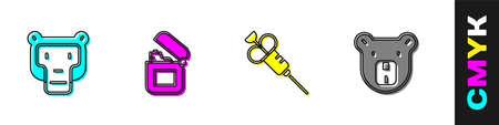 Set Monkey, Lighter, Syringe and Bear head icon. Vector