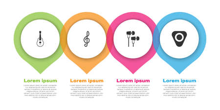Set Guitar, Treble clef, Air headphones and pick. Business infographic template. Vector Vetores