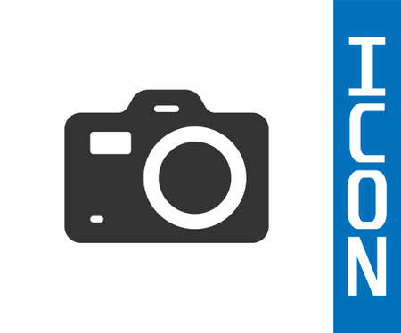 Grey Photo camera icon isolated on white background. Foto camera. Digital photography. Vector Vector Illustratie