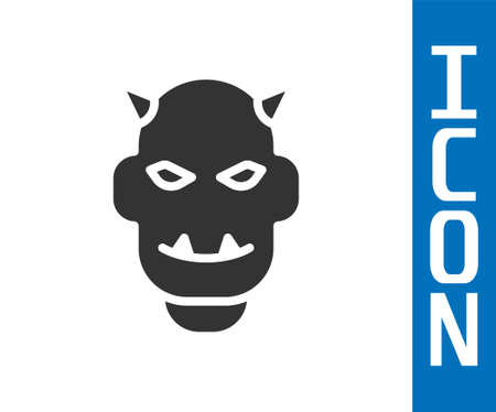 Grey Mask of the devil with horns icon isolated on white background. Vector