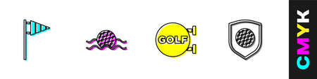Set Golf flag, ball in water, sport club and with shield icon. Vector Vetores