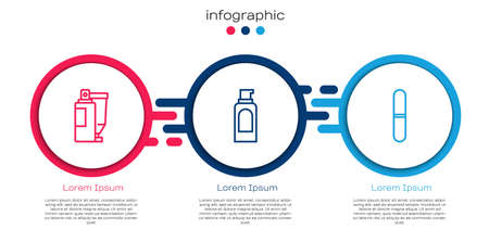 Set line Cream or lotion cosmetic tube, Spray can for hairspray and Nail file. Business infographic template. Vector Vetores
