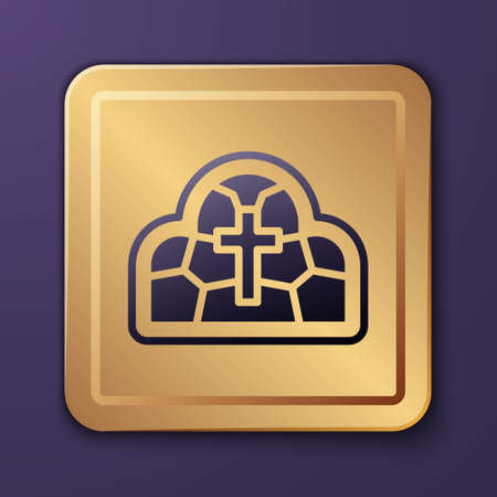 Purple Stained glass ancient cathedral, temple, church icon isolated on purple background. Gold square button. Vector Illustration