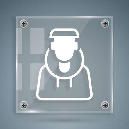 White Monk icon isolated on grey background. Square glass panels. Vector