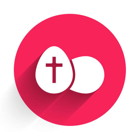 White Easter egg icon isolated with long shadow. Happy Easter. Red circle button. Vector