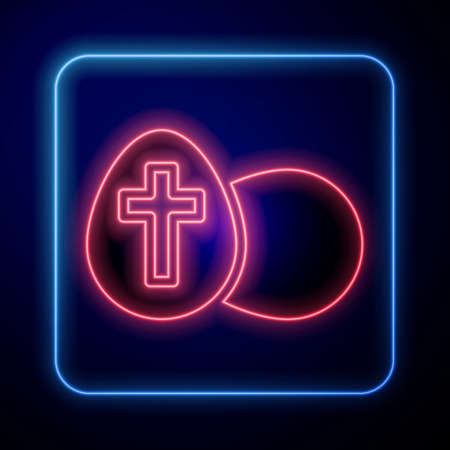 Glowing neon Easter egg icon isolated on black background. Happy Easter. Vector