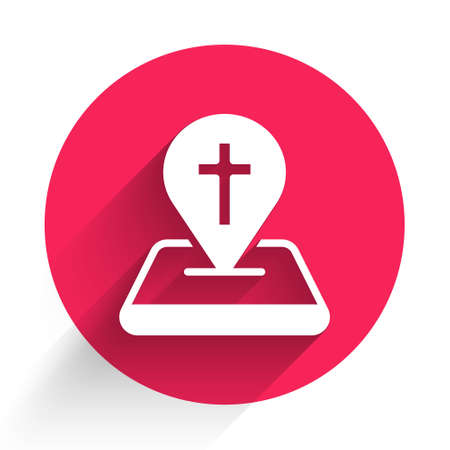 White Map pin church building icon isolated with long shadow. Christian Church. Religion of church. Red circle button. Vector