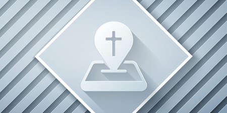 Paper cut Map pin church building icon isolated on grey background. Christian Church. Religion of church. Paper art style. Vector Illustration