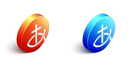 Isometric Christian fish symbol icon isolated on white background. Jesus fish symbol. Orange and blue circle button. Vector