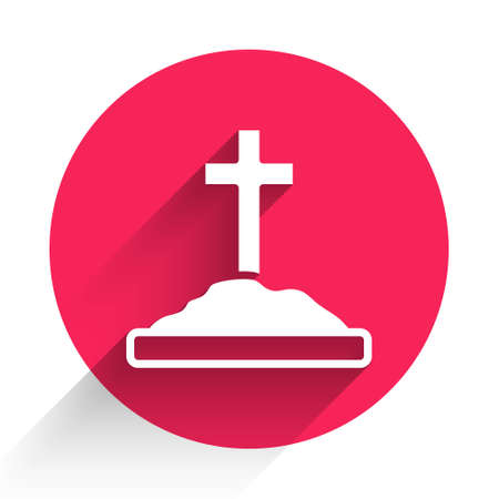 White Grave with cross icon isolated with long shadow. Red circle button. Vector Illustration