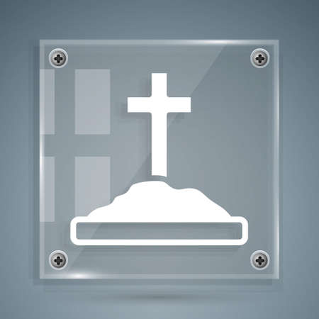 White Grave with cross icon isolated on grey background. Square glass panels. Vector