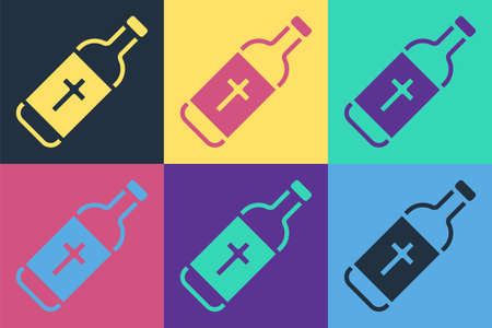 Pop art Holy water bottle icon isolated on color background. Glass flask with magic liquid. Vector