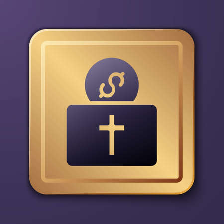 Purple Donation for church icon isolated on purple background. Gold square button. Vector