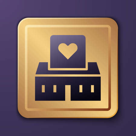 Purple Volunteer center icon isolated on purple background. Gold square button. Vector