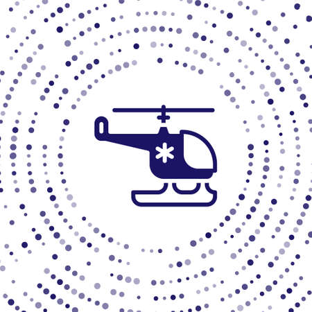 Blue Rescue helicopter icon isolated on white background. Ambulance helicopter. Abstract circle random dots. Vector