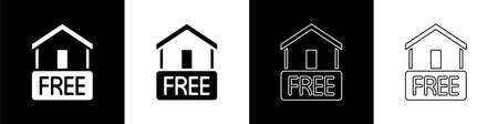 Set Free home delivery concept for increase the sell stock icon isolated on black and white background. Vector