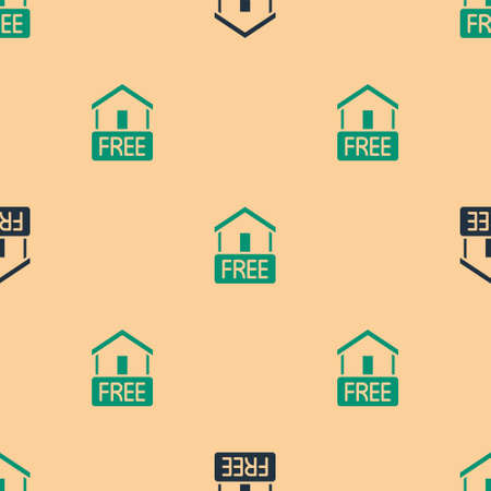 Green and black Free home delivery concept for increase the sell stock icon isolated seamless pattern on beige background. Vector