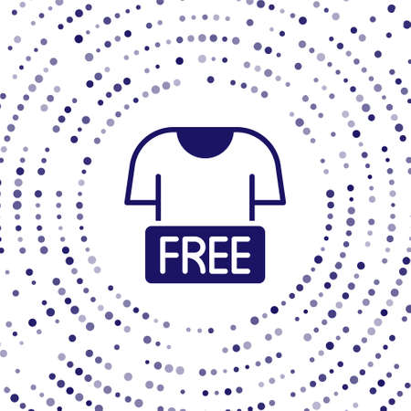 Blue Clothes donation icon isolated on white background. Abstract circle random dots. Vector