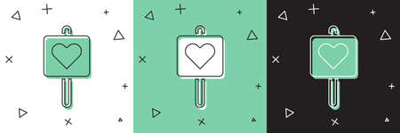 Set Map pointer with heart icon isolated on white and green, black background. Valentines day. Love location. Romantic map pin. Vector