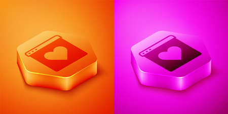 Isometric Dating app online laptop concept icon isolated on orange and pink background. Female male profile flat design. Couple match for relationship. Hexagon button. Vector Illustration