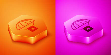 Isometric Humanitarian aid icon isolated on orange and pink background. Medical cargo goes down to hard-to-reach places with a parachute. Hexagon button. Vector Illustration