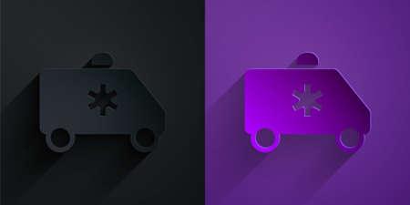 Paper cut Ambulance and emergency car icon isolated on black on purple background. Ambulance vehicle medical evacuation. Paper art style. Vector Illustration