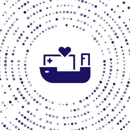 Blue Humanitarian ship icon isolated on white background. Abstract circle random dots. Vector