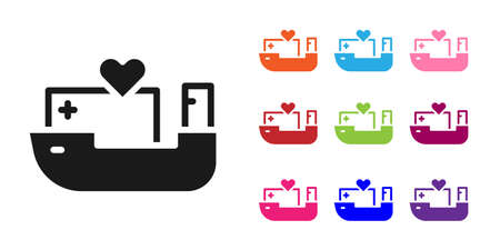 Black Humanitarian ship icon isolated on white background. Set icons colorful. Vector