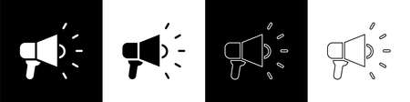 Set Megaphone icon isolated on black and white background. Speaker sign. Vector