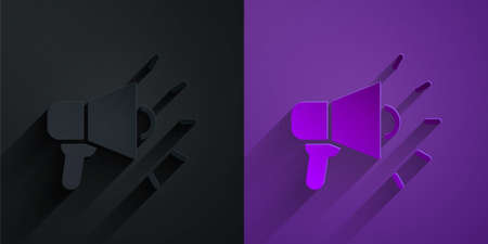 Paper cut Megaphone icon isolated on black on purple background. Speaker sign. Paper art style. Vector